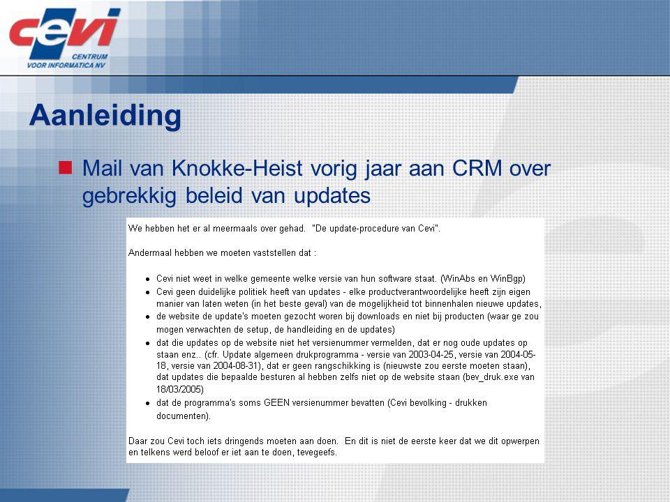 Aanleiding Mail van Knokke-Heist vorig jaar aan CRM over gebrekkig beleid van updates