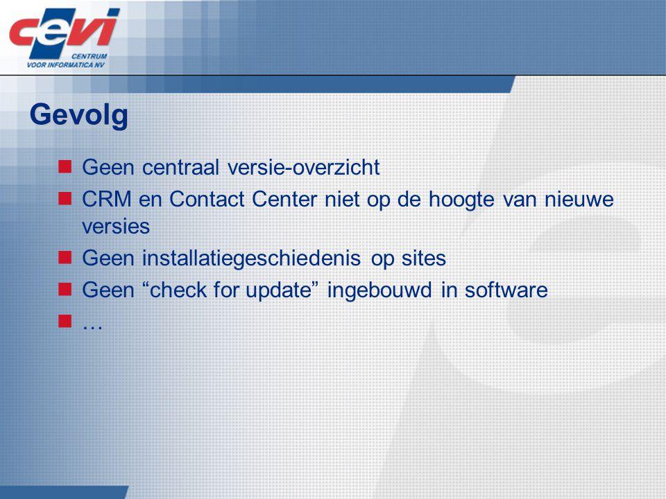 Gevolg Geen centraal versie-overzicht CRM en Contact Center niet op de hoogte van nieuwe versies Geen installatiegeschiedenis op sites Geen check for update ingebouwd in software …