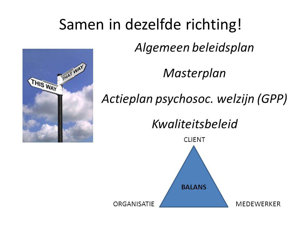 Samen in dezelfde richting. Algemeen beleidsplan Masterplan Actieplan psychosoc.