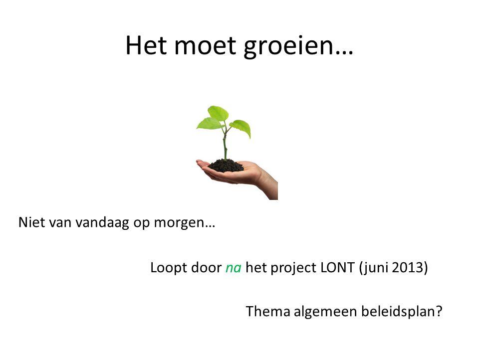 Het moet groeien… Niet van vandaag op morgen… Loopt door na het project LONT (juni 2013) Thema algemeen beleidsplan