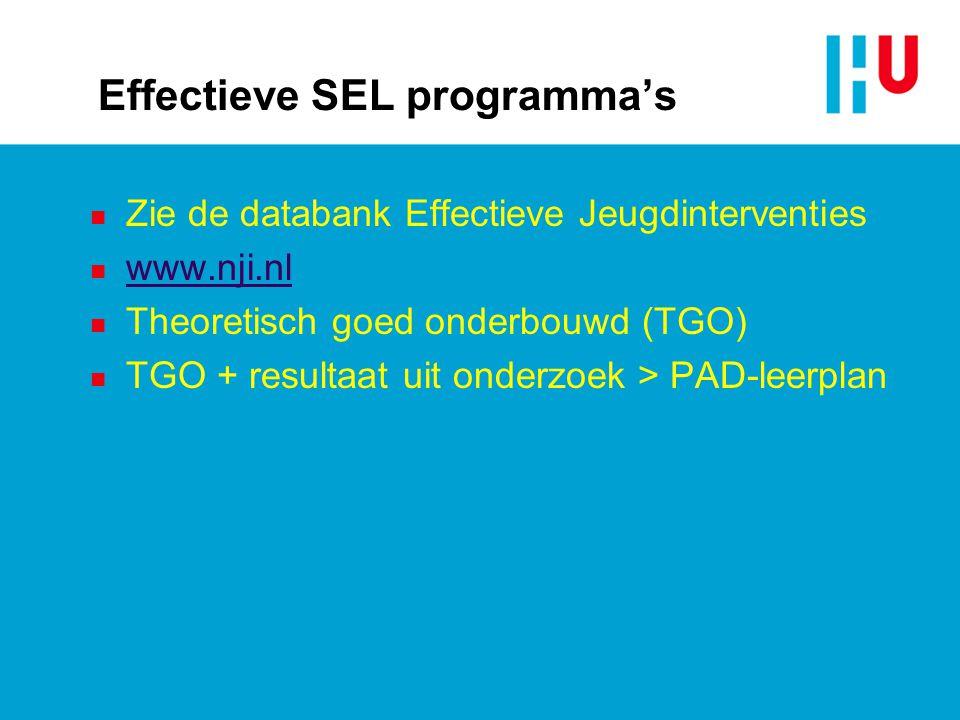 Effectieve SEL programma's n Zie de databank Effectieve Jeugdinterventies n www.nji.nl www.nji.nl n Theoretisch goed onderbouwd (TGO) n TGO + resultaat uit onderzoek > PAD-leerplan