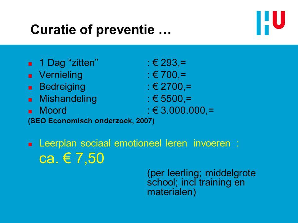 """Curatie of preventie … n 1 Dag """"zitten"""": € 293,= n Vernieling: € 700,= n Bedreiging: € 2700,= n Mishandeling: € 5500,= n Moord: € 3.000.000,= (SEO Eco"""