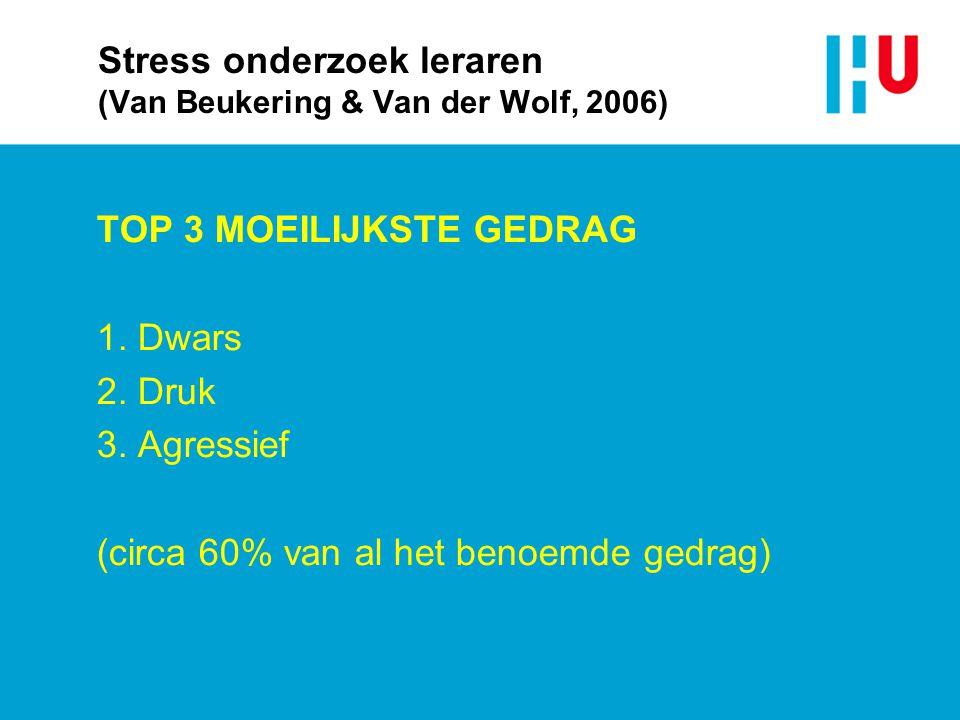 Stress onderzoek leraren (Van Beukering & Van der Wolf, 2006) TOP 3 MOEILIJKSTE GEDRAG 1. Dwars 2. Druk 3. Agressief (circa 60% van al het benoemde ge