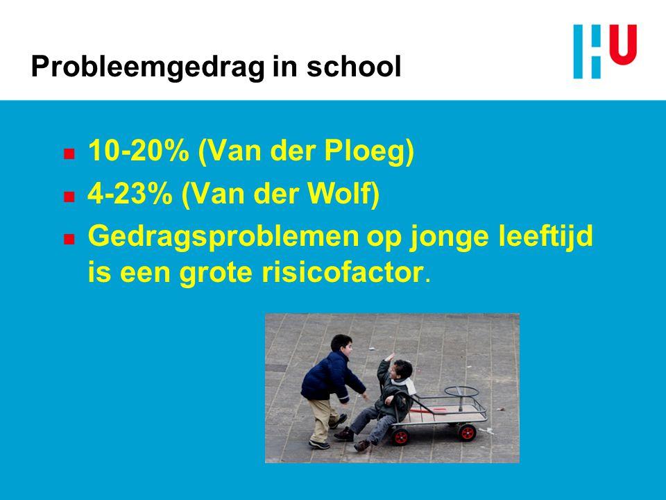 Probleemgedrag in school n 10-20% (Van der Ploeg) n 4-23% (Van der Wolf) n Gedragsproblemen op jonge leeftijd is een grote risicofactor.