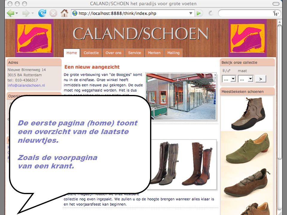 De eerste pagina (home) toont een overzicht van de laatste nieuwtjes.