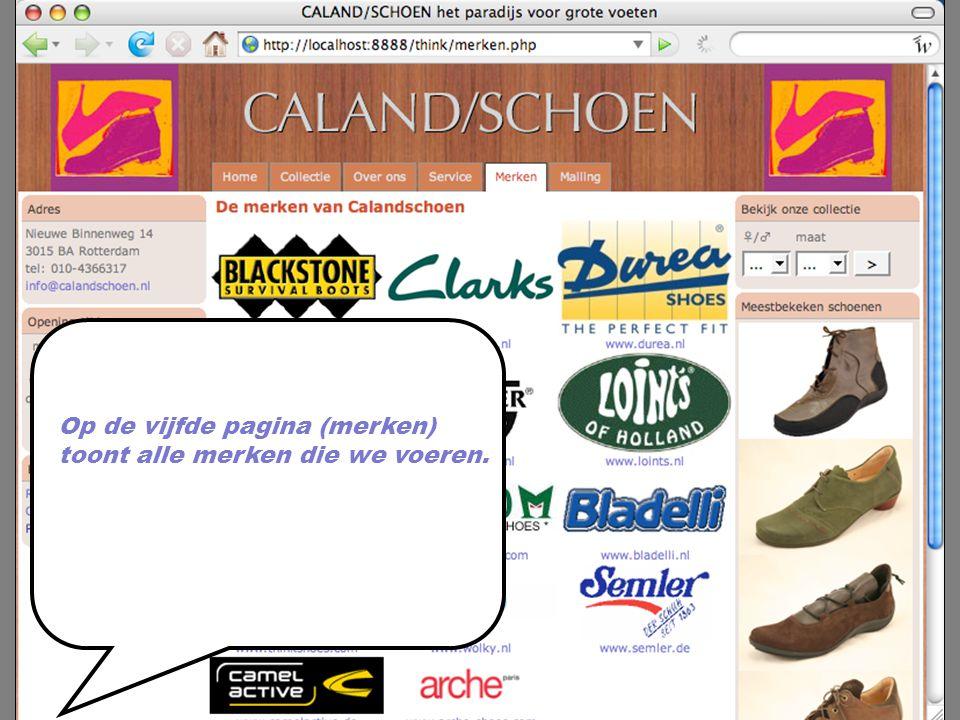 Op de vijfde pagina (merken) toont alle merken die we voeren.