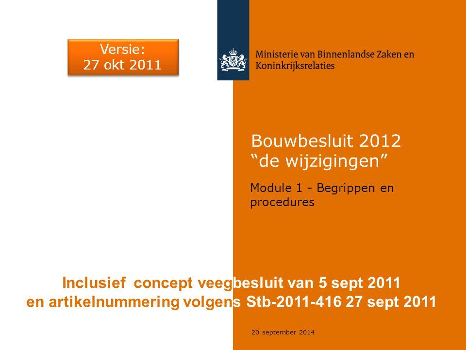 """20 september 2014 Bouwbesluit 2012 """"de wijzigingen"""" Module 1 - Begrippen en procedures Inclusief concept veegbesluit van 5 sept 2011 en artikelnummeri"""