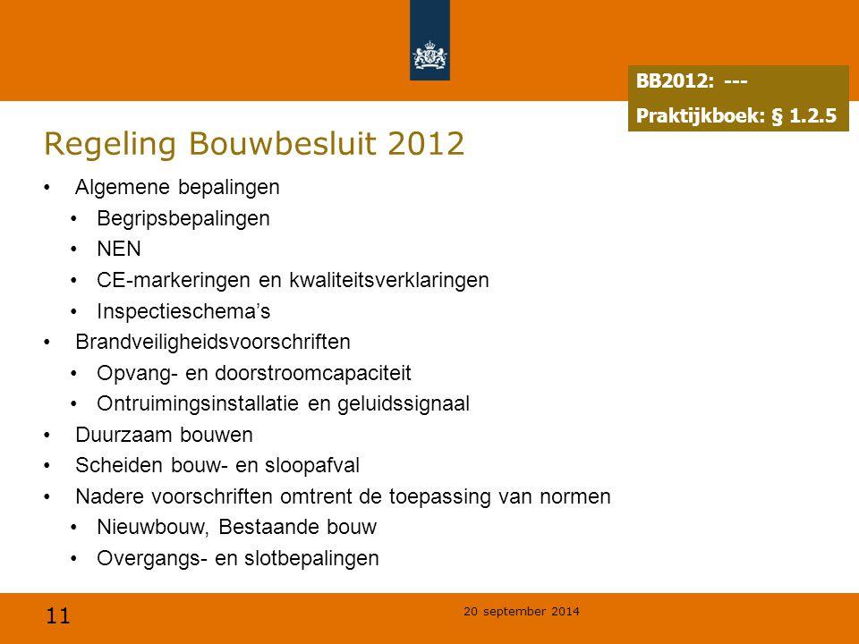 11 20 september 2014 Regeling Bouwbesluit 2012 Algemene bepalingen Begripsbepalingen NEN CE-markeringen en kwaliteitsverklaringen Inspectieschema's Br