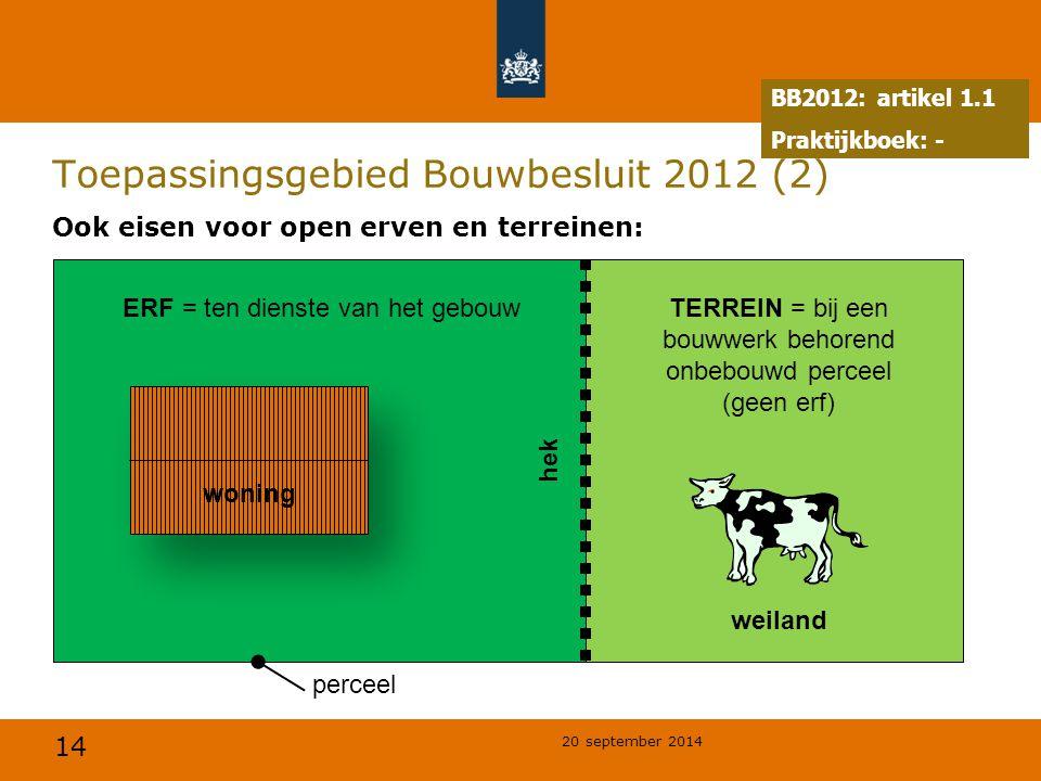 14 20 september 2014 Toepassingsgebied Bouwbesluit 2012 (2) Ook eisen voor open erven en terreinen: TERREIN = bij een bouwwerk behorend onbebouwd perc