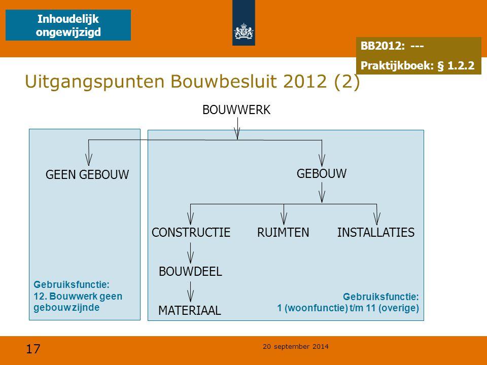 17 20 september 2014 Uitgangspunten Bouwbesluit 2012 (2) Gebruiksfunctie: 12. Bouwwerk geen gebouw zijnde Gebruiksfunctie: 1 (woonfunctie) t/m 11 (ove