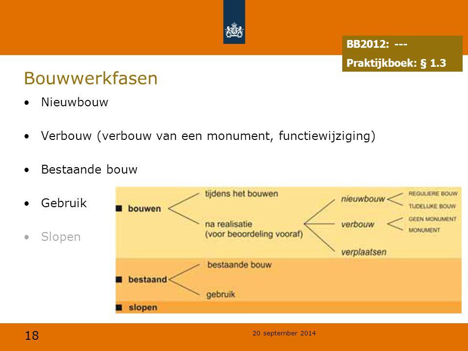 18 20 september 2014 Bouwwerkfasen Nieuwbouw Verbouw (verbouw van een monument, functiewijziging) Bestaande bouw Gebruik Slopen BB2012: --- Praktijkboek: § 1.3