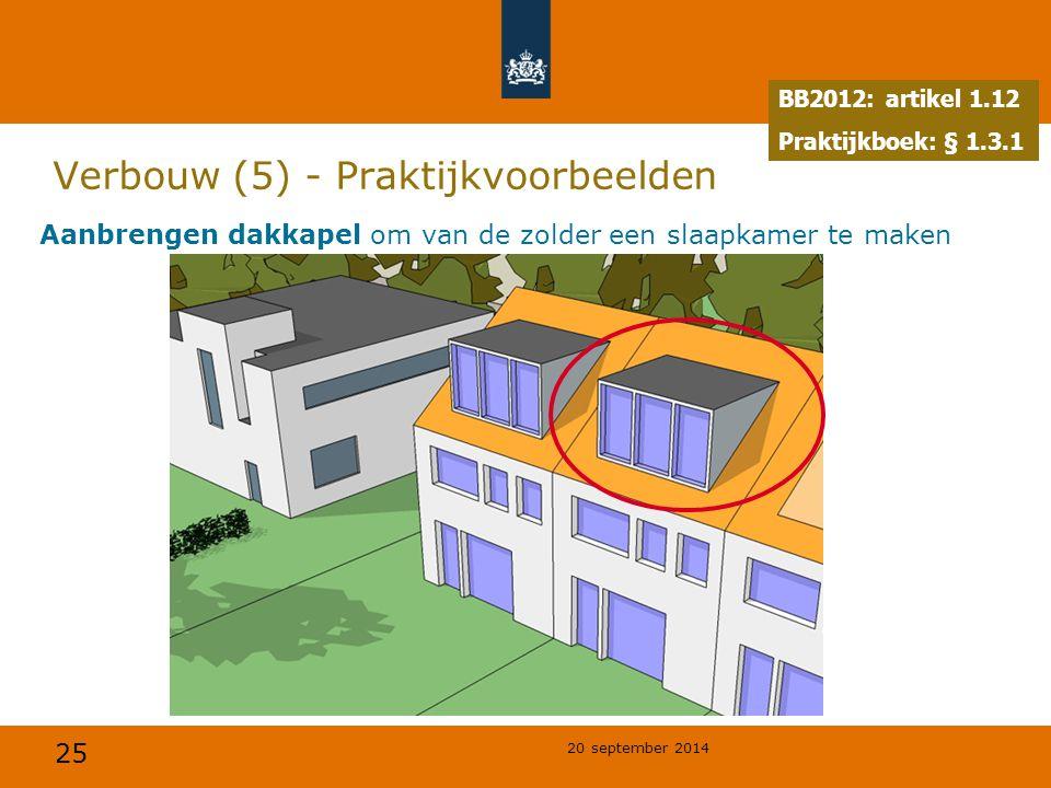 25 20 september 2014 Verbouw (5) - Praktijkvoorbeelden Aanbrengen dakkapel om van de zolder een slaapkamer te maken BB2012: artikel 1.12 Praktijkboek: § 1.3.1