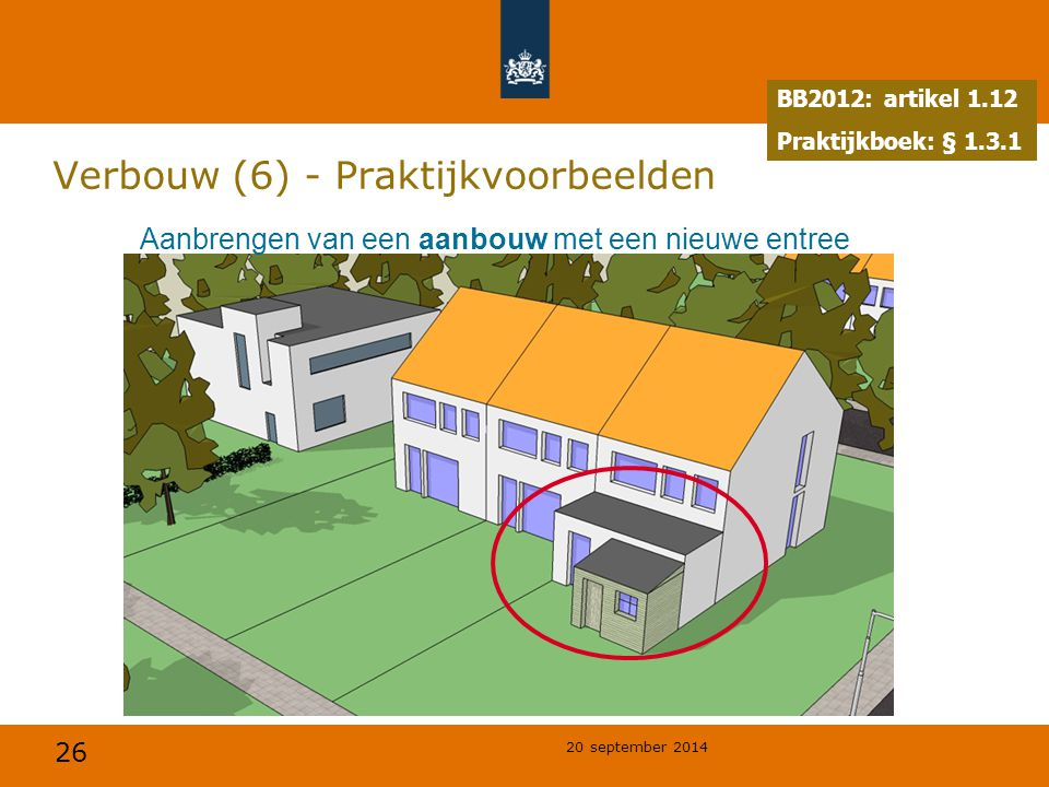 26 20 september 2014 Verbouw (6) - Praktijkvoorbeelden Aanbrengen van een aanbouw met een nieuwe entree BB2012: artikel 1.12 Praktijkboek: § 1.3.1