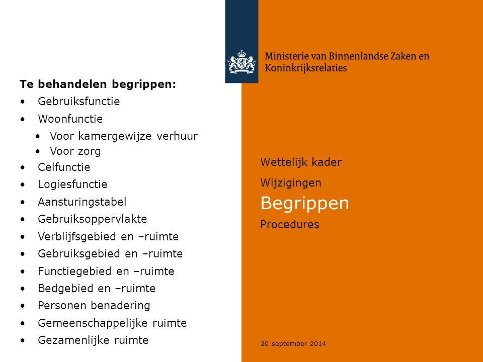 20 september 2014 Wettelijk kader Wijzigingen Begrippen Procedures Te behandelen begrippen: Gebruiksfunctie Woonfunctie Voor kamergewijze verhuur Voor
