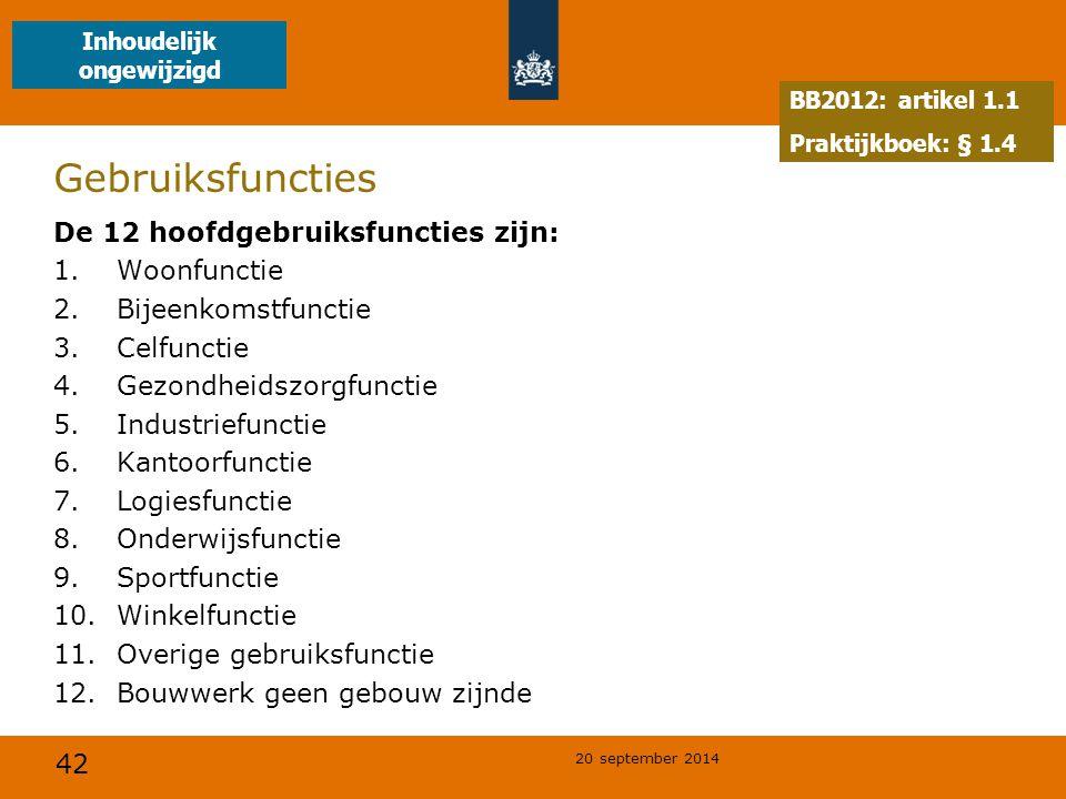 42 20 september 2014 Gebruiksfuncties De 12 hoofdgebruiksfuncties zijn: 1.Woonfunctie 2.Bijeenkomstfunctie 3.Celfunctie 4.Gezondheidszorgfunctie 5.Ind