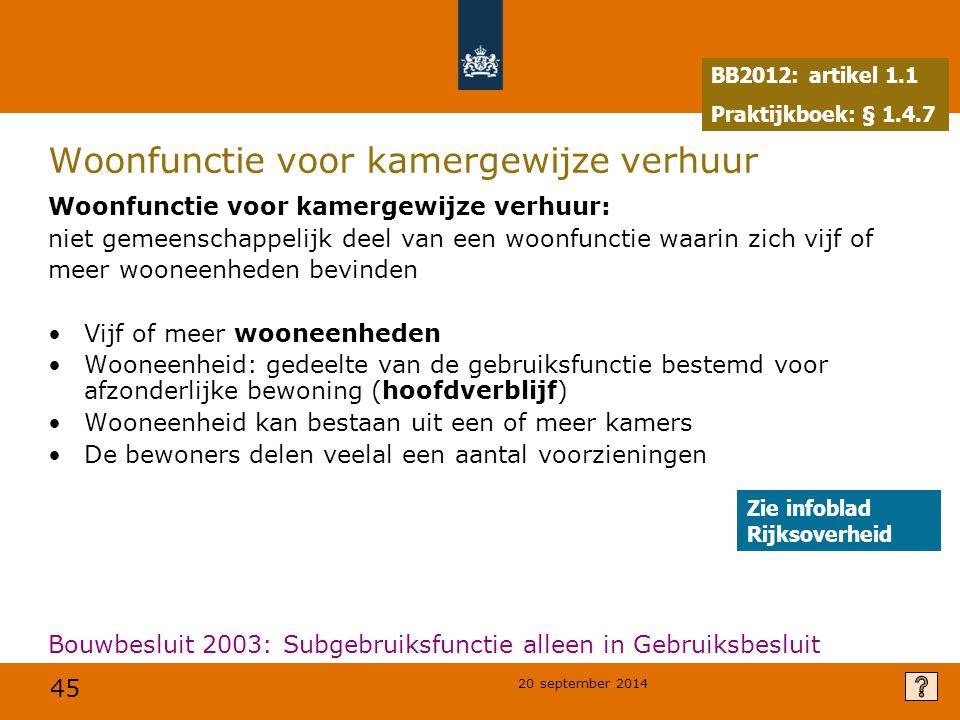 45 20 september 2014 Woonfunctie voor kamergewijze verhuur Woonfunctie voor kamergewijze verhuur: niet gemeenschappelijk deel van een woonfunctie waar