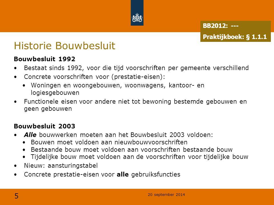 5 20 september 2014 Historie Bouwbesluit Bouwbesluit 1992 Bestaat sinds 1992, voor die tijd voorschriften per gemeente verschillend Concrete voorschri