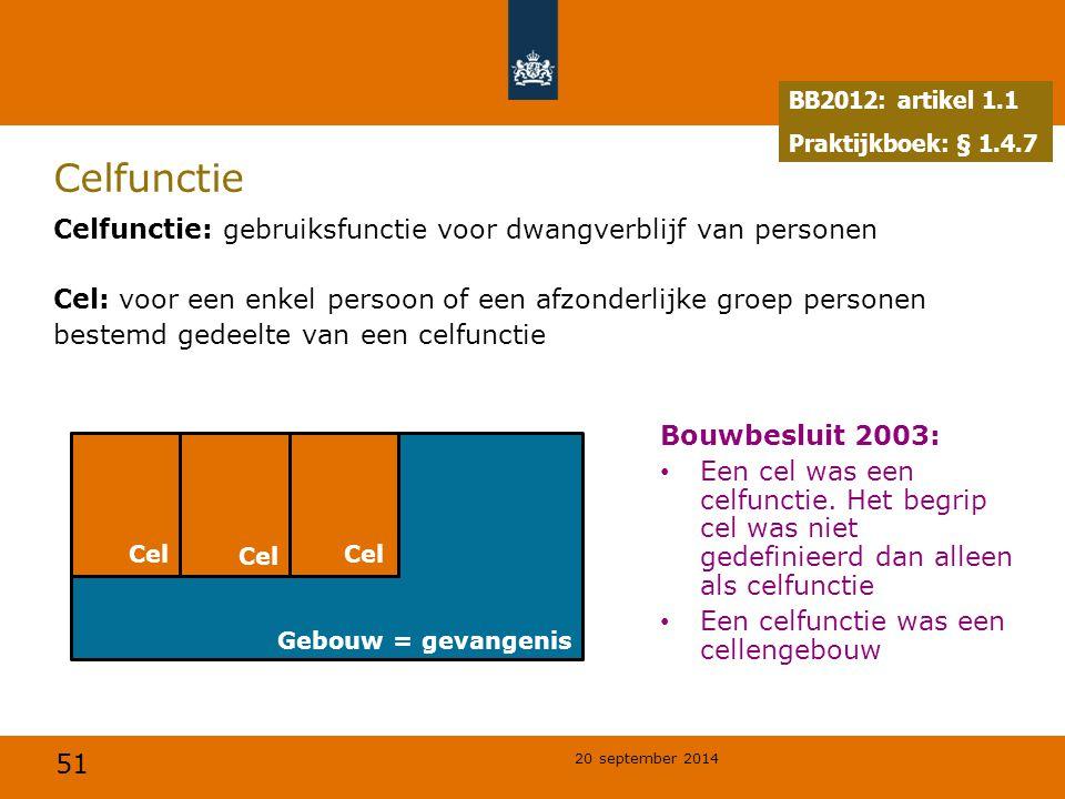 51 20 september 2014 Gebouw = gevangenis Celfunctie Celfunctie: gebruiksfunctie voor dwangverblijf van personen Cel: voor een enkel persoon of een afz