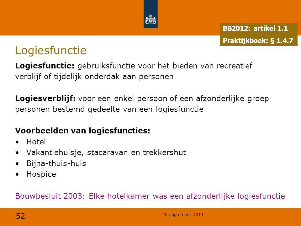 52 20 september 2014 Logiesfunctie Logiesfunctie: gebruiksfunctie voor het bieden van recreatief verblijf of tijdelijk onderdak aan personen Logiesver