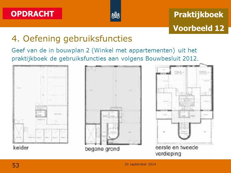 53 20 september 2014 4. Oefening gebruiksfuncties Geef van de in bouwplan 2 (Winkel met appartementen) uit het praktijkboek de gebruiksfuncties aan vo