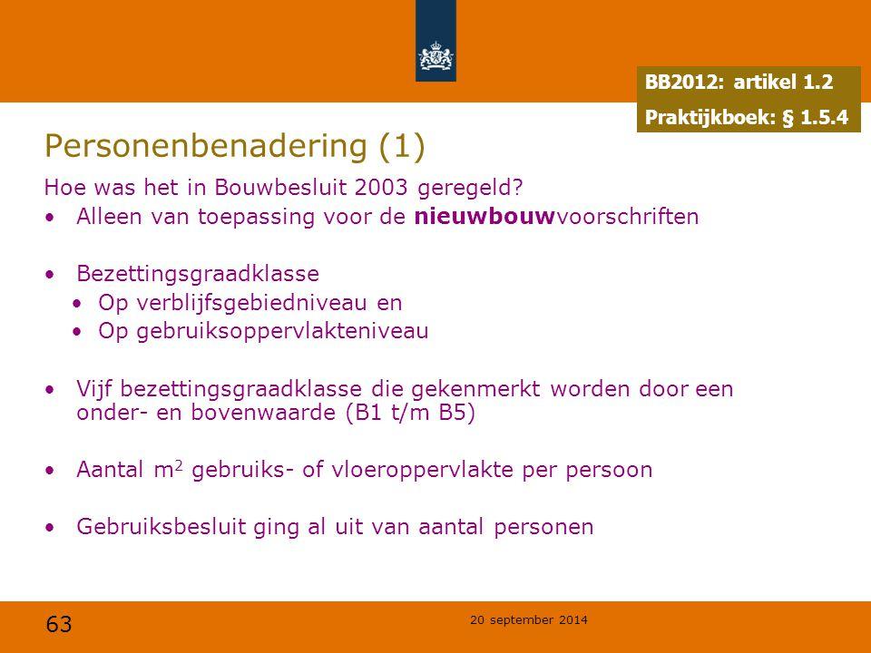 63 20 september 2014 Personenbenadering (1) Hoe was het in Bouwbesluit 2003 geregeld? Alleen van toepassing voor de nieuwbouwvoorschriften Bezettingsg