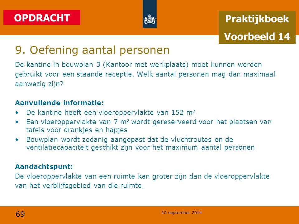 69 20 september 2014 9. Oefening aantal personen De kantine in bouwplan 3 (Kantoor met werkplaats) moet kunnen worden gebruikt voor een staande recept