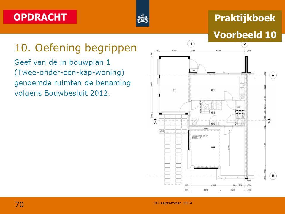 70 20 september 2014 10. Oefening begrippen Geef van de in bouwplan 1 (Twee-onder-een-kap-woning) genoemde ruimten de benaming volgens Bouwbesluit 201