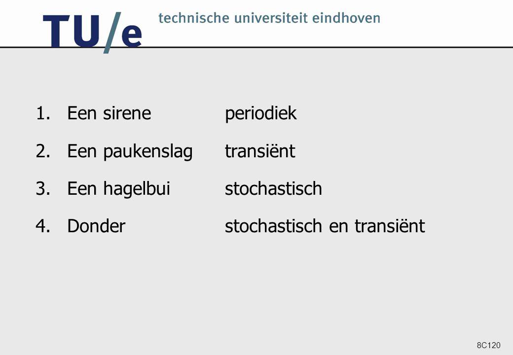 8C120 1.Een sireneperiodiek 2.Een paukenslagtransiënt 3.Een hagelbuistochastisch 4.Donderstochastisch en transiënt