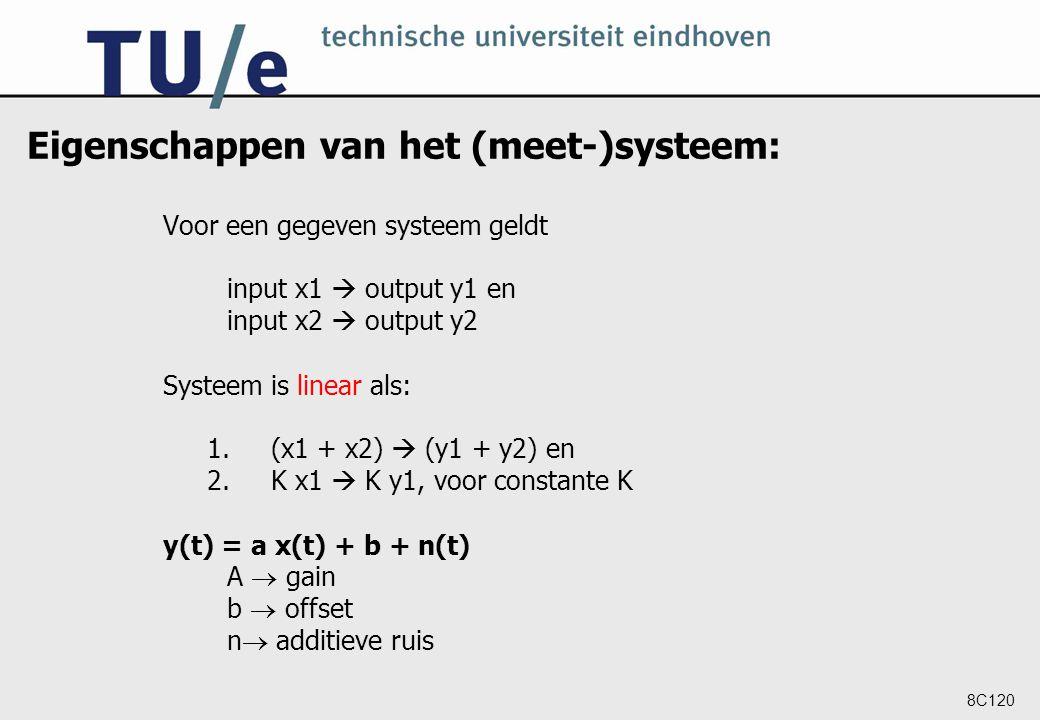 8C120 Eigenschappen van het (meet-)systeem: Voor een gegeven systeem geldt input x1  output y1 en input x2  output y2 Systeem is linear als: 1.(x1 +