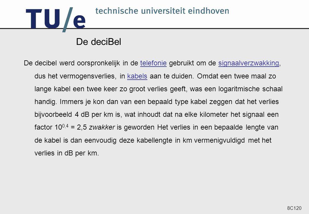 8C120 De deciBel De decibel werd oorspronkelijk in de telefonie gebruikt om de signaalverzwakking, dus het vermogensverlies, in kabels aan te duiden.