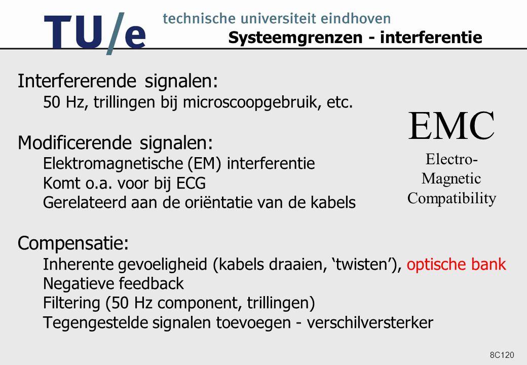 8C120 Systeemgrenzen - interferentie Interfererende signalen: 50 Hz, trillingen bij microscoopgebruik, etc. Modificerende signalen: Elektromagnetische