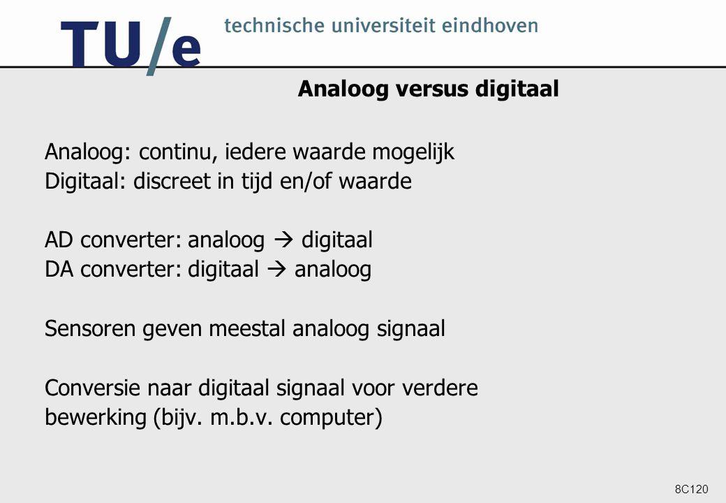 8C120 Analoog versus digitaal Analoog: continu, iedere waarde mogelijk Digitaal: discreet in tijd en/of waarde AD converter: analoog  digitaal DA con
