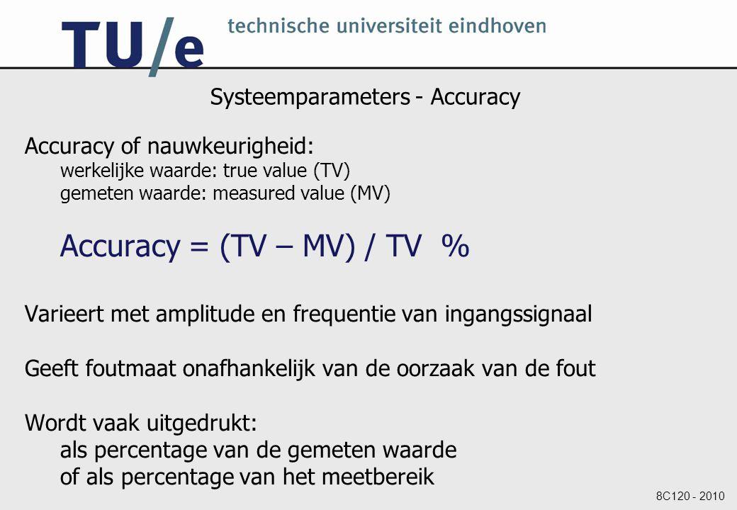 8C120 - 2010 Systeemparameters - Precision Precision of precisie: Aantal onderscheidbare alternatieven Voorbeeld: Een meetsysteem dat 2.434 V aangeeft is preciezer dan een meetsysteem dat 2.43 V aangeeft.