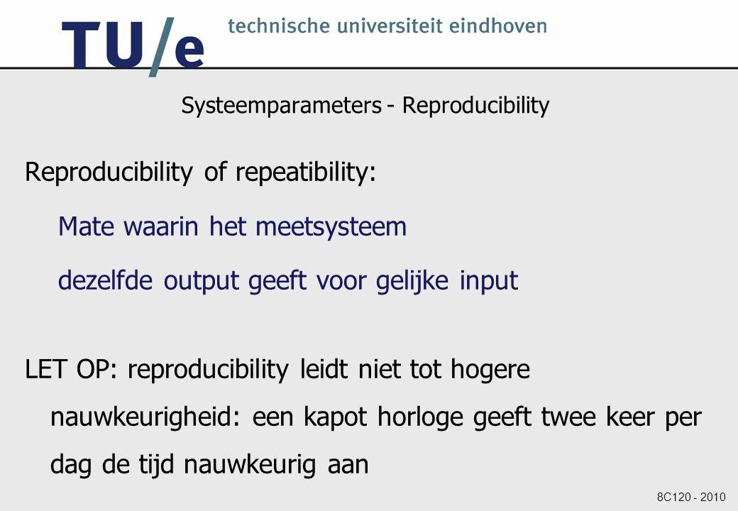 8C120 - 2010 Systeemparameters - Reproducibility Reproducibility of repeatibility: Mate waarin het meetsysteem dezelfde output geeft voor gelijke input LET OP: reproducibility leidt niet tot hogere nauwkeurigheid: een kapot horloge geeft twee keer per dag de tijd nauwkeurig aan