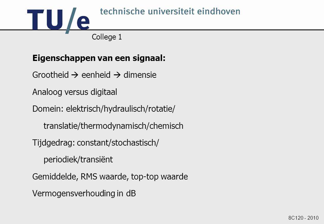 8C120 - 2010 College 1 Eigenschappen van een signaal: Grootheid  eenheid  dimensie Analoog versus digitaal Domein: elektrisch/hydraulisch/rotatie/ t