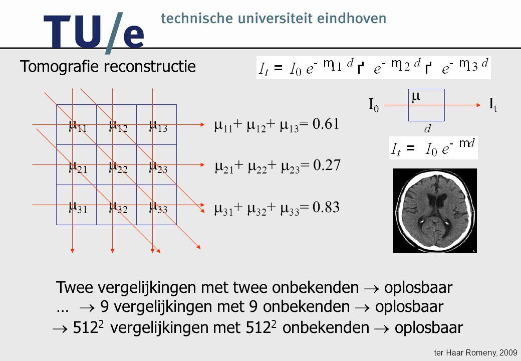 ter Haar Romeny, 2009  11  12  13  23  22  21  31  32  33 Twee vergelijkingen met twee onbekenden  oplosbaar …  9 vergelijkingen met 9 onbekenden  oplosbaar I0I0 ItIt Tomografie reconstructie d   11 +  12 +  13 = 0.61  21 +  22 +  23 = 0.27  31 +  32 +  33 = 0.83  512 2 vergelijkingen met 512 2 onbekenden  oplosbaar