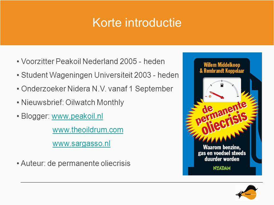 Olieproductie Non-OPEC 2002 - 2008 Source figure : ASPO Netherlands