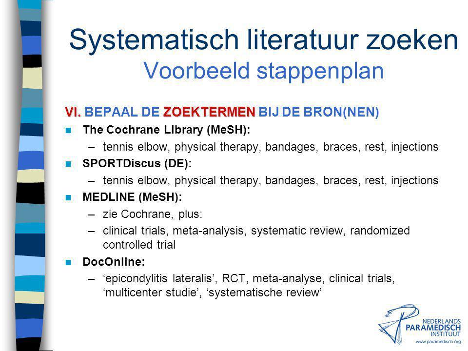 Systematisch literatuur zoeken Voorbeeld stappenplan V.BRON(NEN) V.