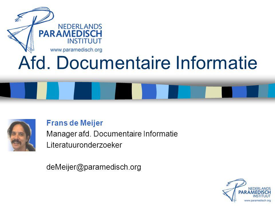 Afd. Documentaire Informatie Zoeksystemen en -systematiek Gastcollege Opleiding Fysiotherapie Hogeschool Leiden 6 december 2002