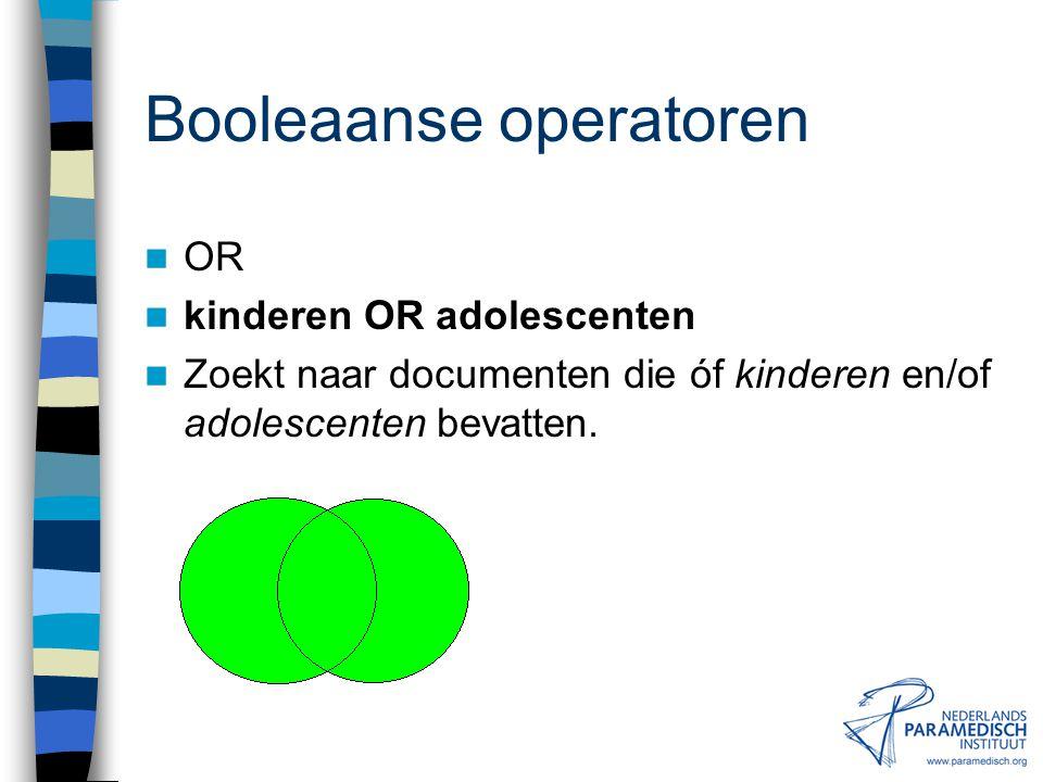 Booleaanse operatoren AND cva AND rct Zoekt naar documenten die zowel cva als rct bevatten.