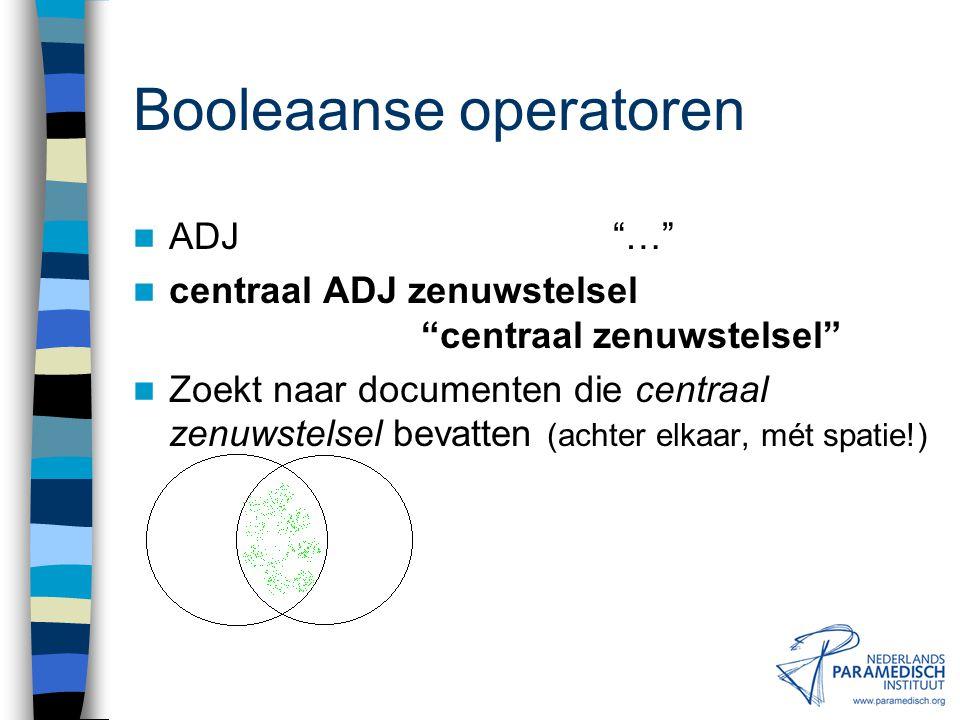 Booleaanse operatoren NOT (AND NOT) fysiotherapie NOT scriptie Zoekt naar documenten die fysiotherapie bevatten, maar niet scriptie.