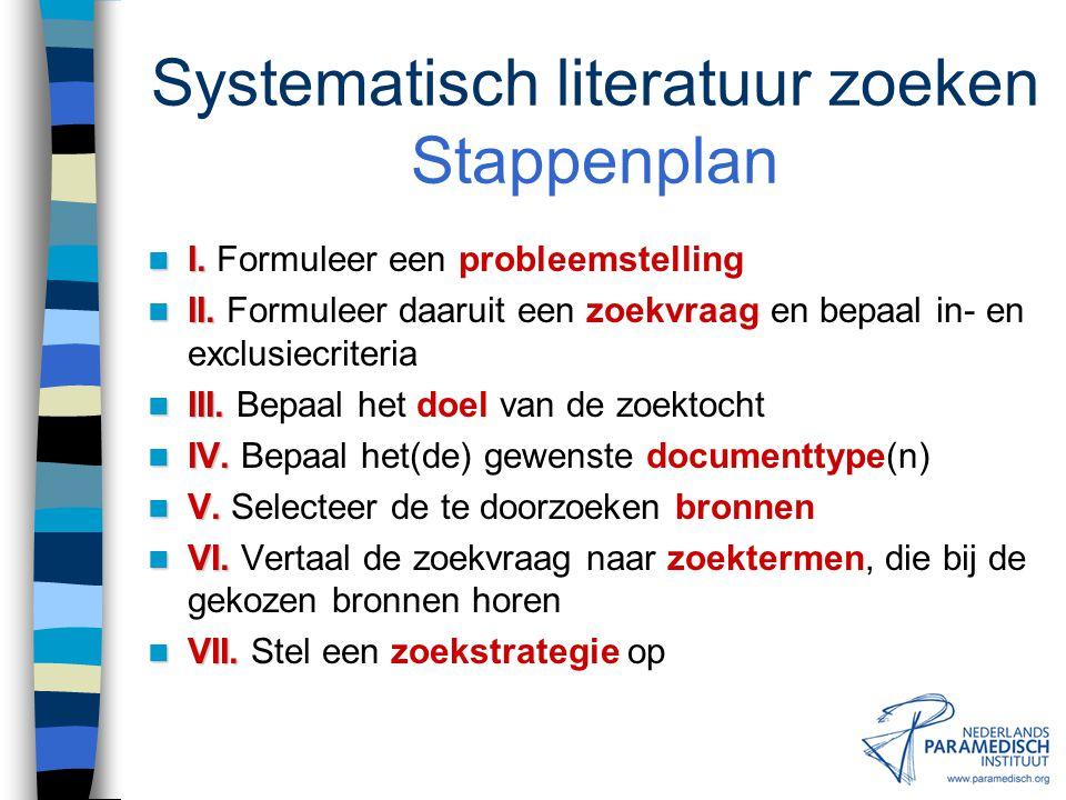 Zoeken naar literatuur SYSTEMATISCH LITERATUUR ZOEKEN (THEORIE)