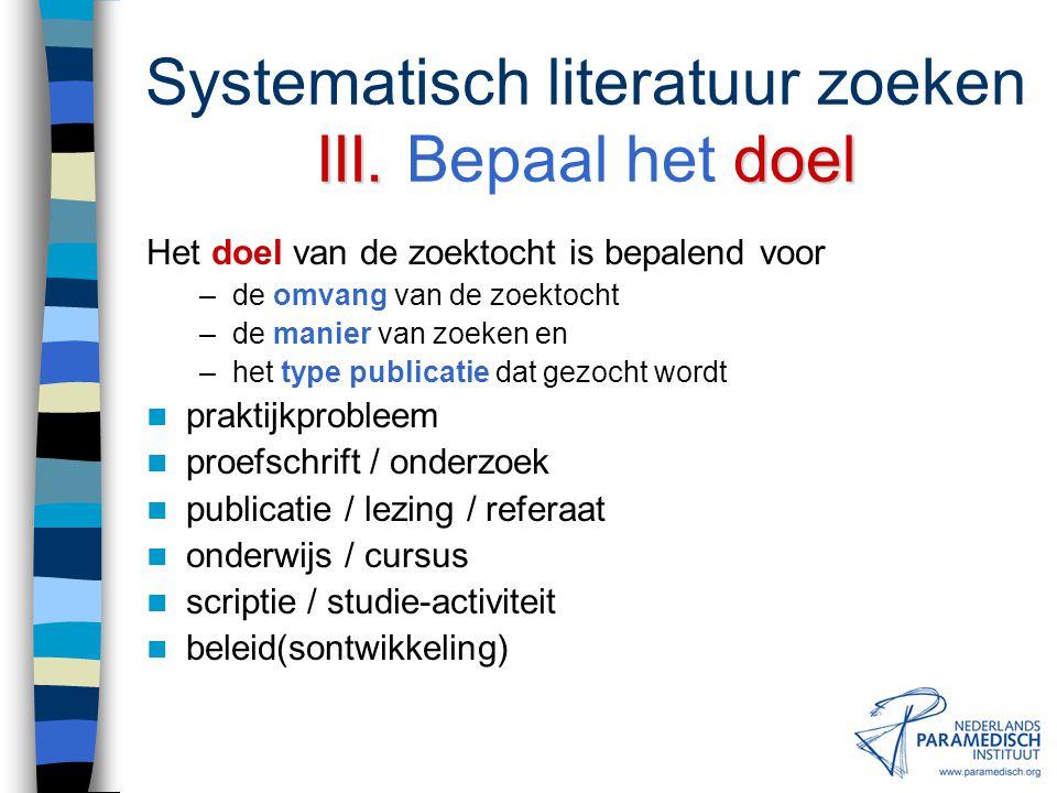 II. zoekvraag Systematisch literatuur zoeken II. Formuleer een zoekvraag Stel deelonderwerpen van de probleemstelling vast Bedenk suggesties voor zoek