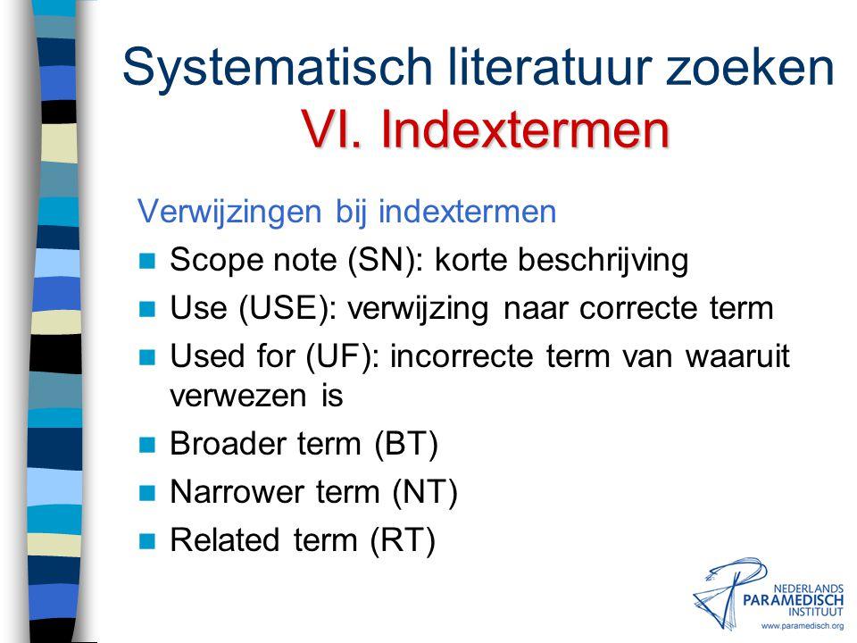 VI.Trefwoordenindextermen Systematisch literatuur zoeken VI. Trefwoorden & indextermen Trefwoorden Alfabetische lijst van zoektermen Geen onderlinge r