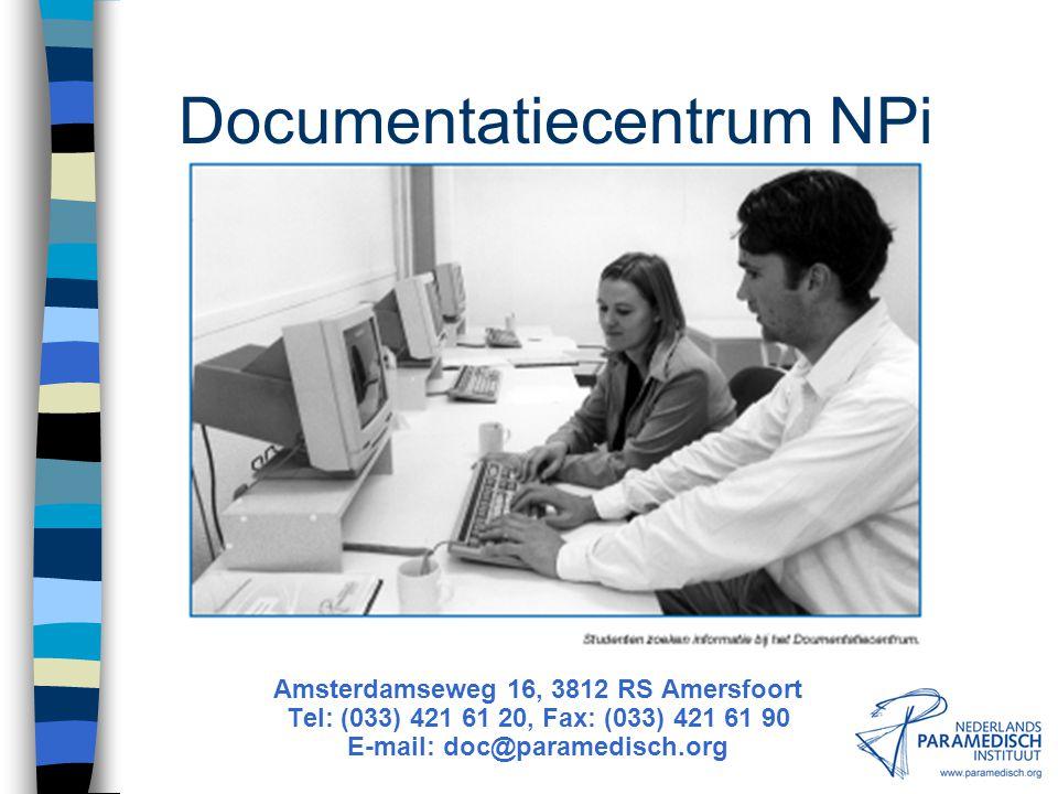 De Afdeling Documentaire Informatie Vakreferenten voor elke paramedische discipline: Diëtetiek Ergotherapie Fysiotherapie Logopedie MBRT (medisch beel
