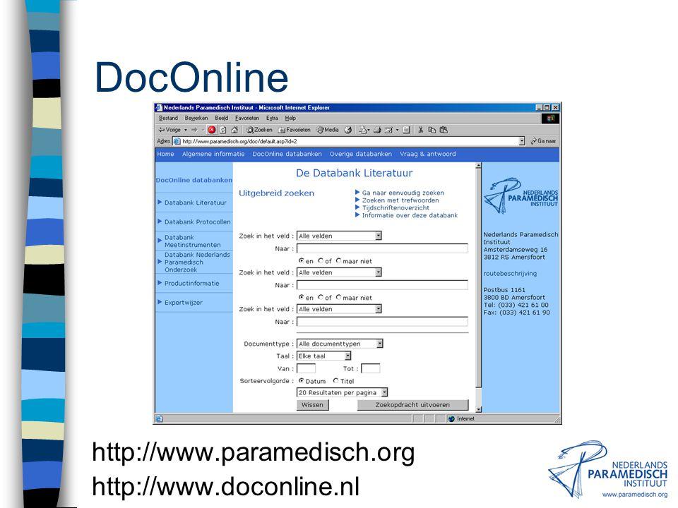 Secundaire Informatiebronnen Meetinstrumenten Databank Meetinstrumenten NPi (in opbouw) QOLID (Quality of Life Instruments Database) CSP Effective Practice Outcome Measures Database