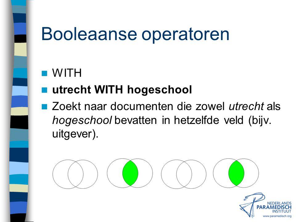 Booleaanse operatoren NEAR lateral NEAR epicondylitis Zoekt naar documenten die zowel lateral als epicondylitis in dezelfde zin bevatten.