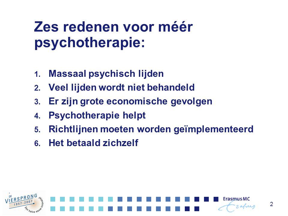 2 Zes redenen voor méér psychotherapie: 1. Massaal psychisch lijden 2. Veel lijden wordt niet behandeld 3. Er zijn grote economische gevolgen 4. Psych