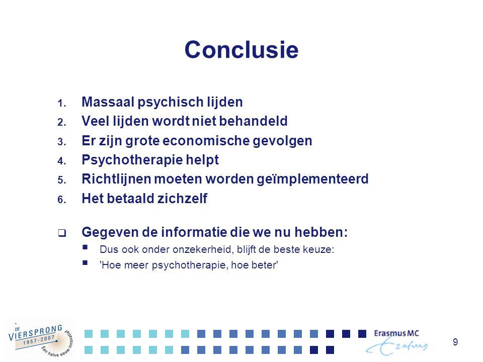 9 Conclusie 1. Massaal psychisch lijden 2. Veel lijden wordt niet behandeld 3. Er zijn grote economische gevolgen 4. Psychotherapie helpt 5. Richtlijn