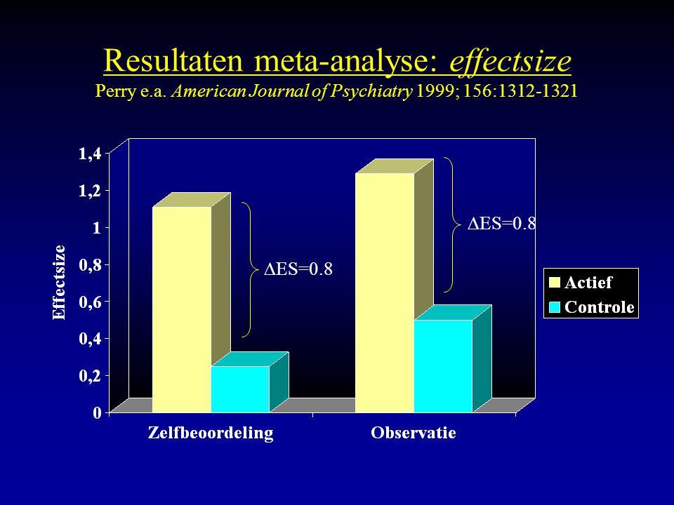 Resultaten meta-analyse: effectsize Perry e.a. American Journal of Psychiatry 1999; 156:1312-1321  ES=0.8
